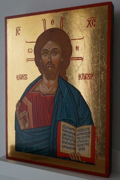 Pantokrator Open Book Hand Painted Byzantine Orthodox Icon