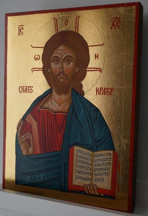 Pantokrator Open Book Hand Painted Byzantine Orthodox Icon
