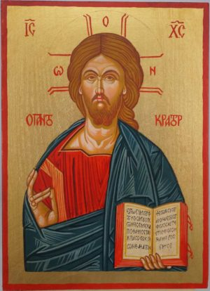 Pantokrator Open Book Hand Painted Orthodox Icon on Wood