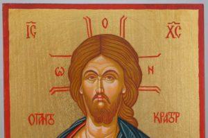 Pantokrator Open Book Hand Painted Orthodox Icon on Wood