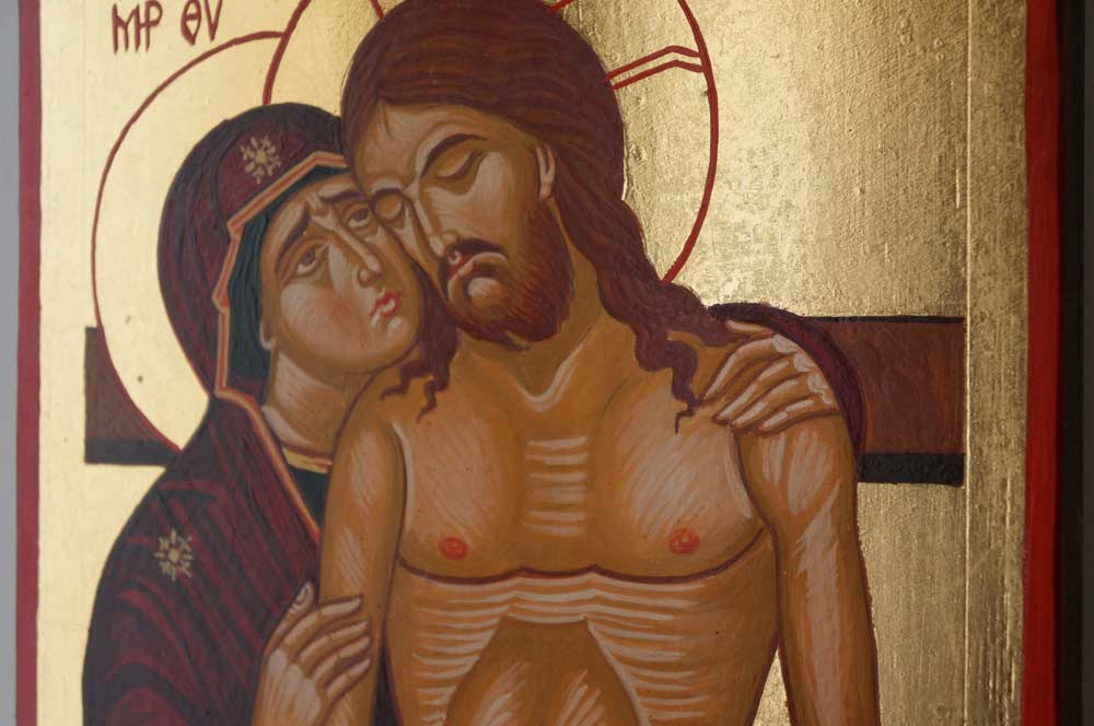 The King of Glory Pieta Hand Painted Byzantine Icon