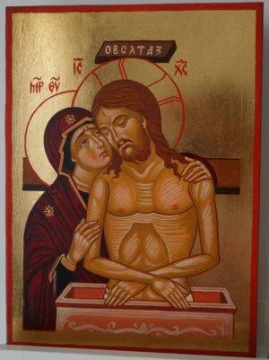 The King of Glory Pieta Hand Painted Byzantine Icon