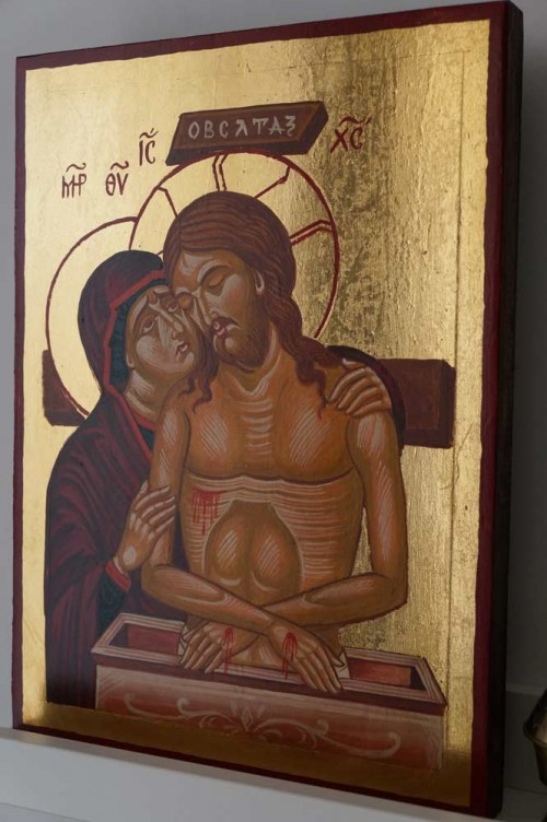 Hand-Painted Byzantine Icon of The King of Glory (Pieta)