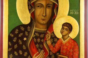 Black Madonna of Czestochowa Hand-Painted Icon on Wood Jasna Gora Monastery