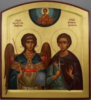 Custom Wedding Icon (Holy Martyr Felix and Archangel Gabriel) Hand-Painted