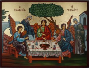 Hospitality of Abraham Sarah Holy Trinity Landscape Hand-Painted Orthodox Icon