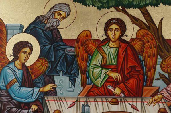Hospitality of Abraham Sarah Holy Trinity Landscape Hand-Painted Orthodox Icon