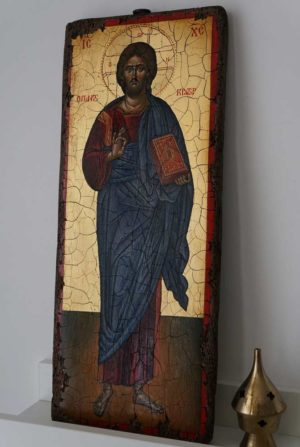 Jesus Christ Pantocrator Full Body Antique Style Hand Painted Byzantine Icon 00