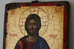 Jesus Christ Pantocrator Full Body Antique Style Hand Painted Byzantine Icon 02