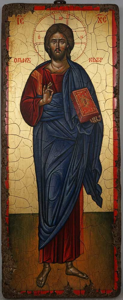 Jesus Christ Pantocrator Full Body Antique Style Hand Painted Byzantine Icon 07