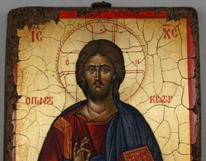 Jesus Christ Pantocrator Full Body Antique Style Hand Painted Byzantine Icon 08