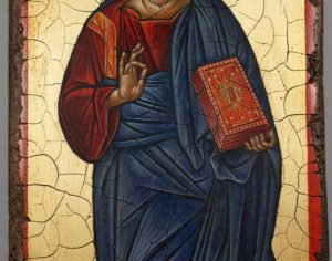 Jesus Christ Pantocrator Full Body Antique Style Hand Painted Byzantine Icon 09