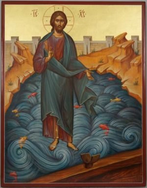 Jesus Christ Walking on Water Hand-Painted Orthodox Icon