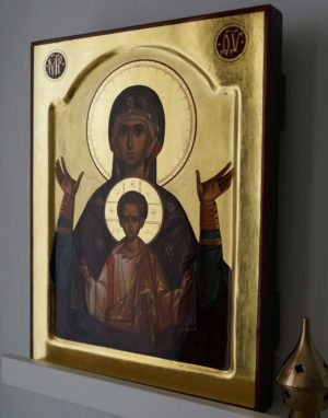 Our Lady of the Sign Znamenie Theotokos Hand Painted Byzantine Orthodox Icon