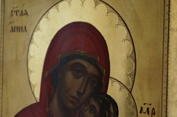 Saint Anna and the Theotokos Hand Painted Byzantine Orthodox Icon