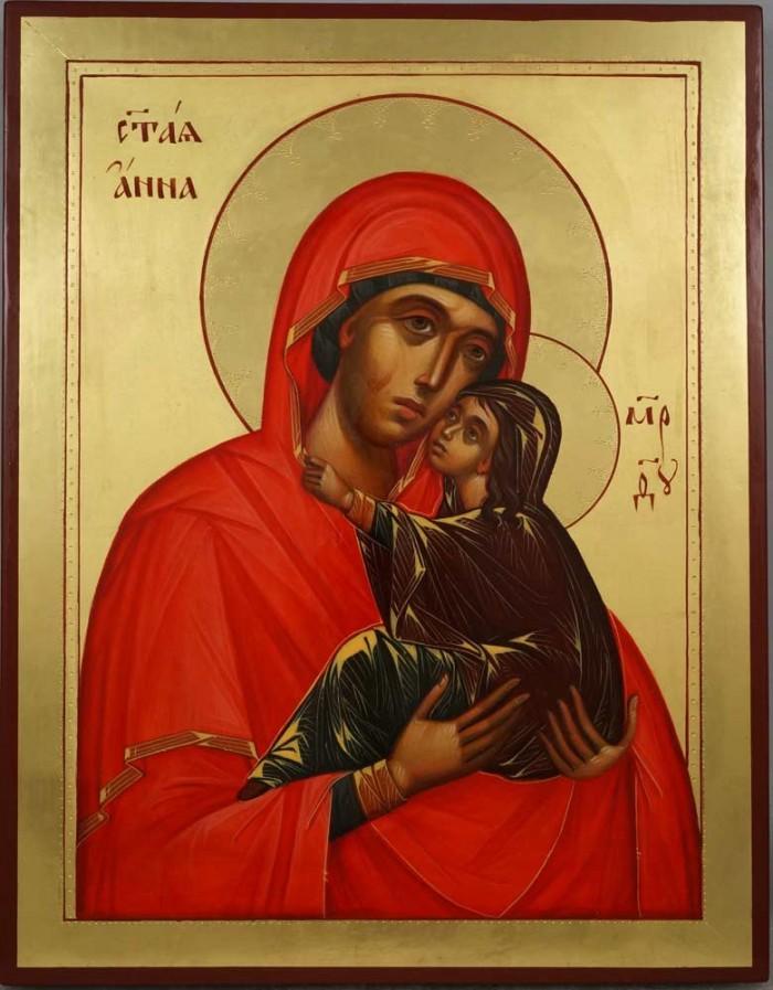 Saint Anna and the Theotokos Hand Painted Byzantine Orthodox Icon