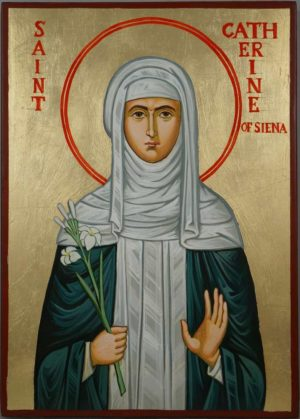 Saint Catherine of Siena Hand-Painted Roman Catholic Icon