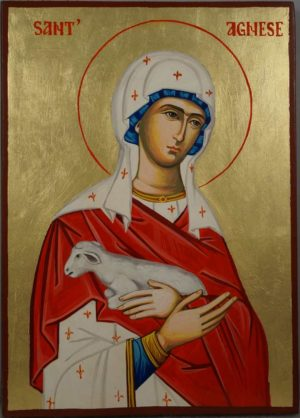 Saint St Agnes of Rome Hand-Painted Orthodox Catholic Icon