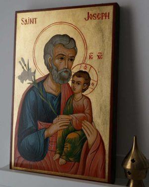 Saint Joseph (White Flowers) Hand-Painted Orthodox Icon