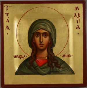 Saint St Mary Magdalene Hand Painted Byzantine Orthodox Icon Miniature