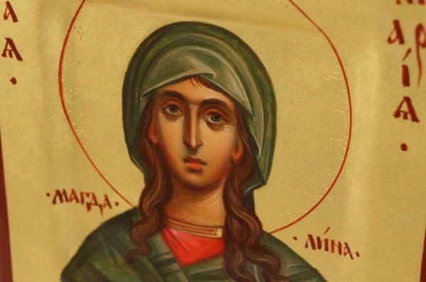 Saint St Mary Magdalene Hand Painted Byzantine Orthodox Icon Miniature