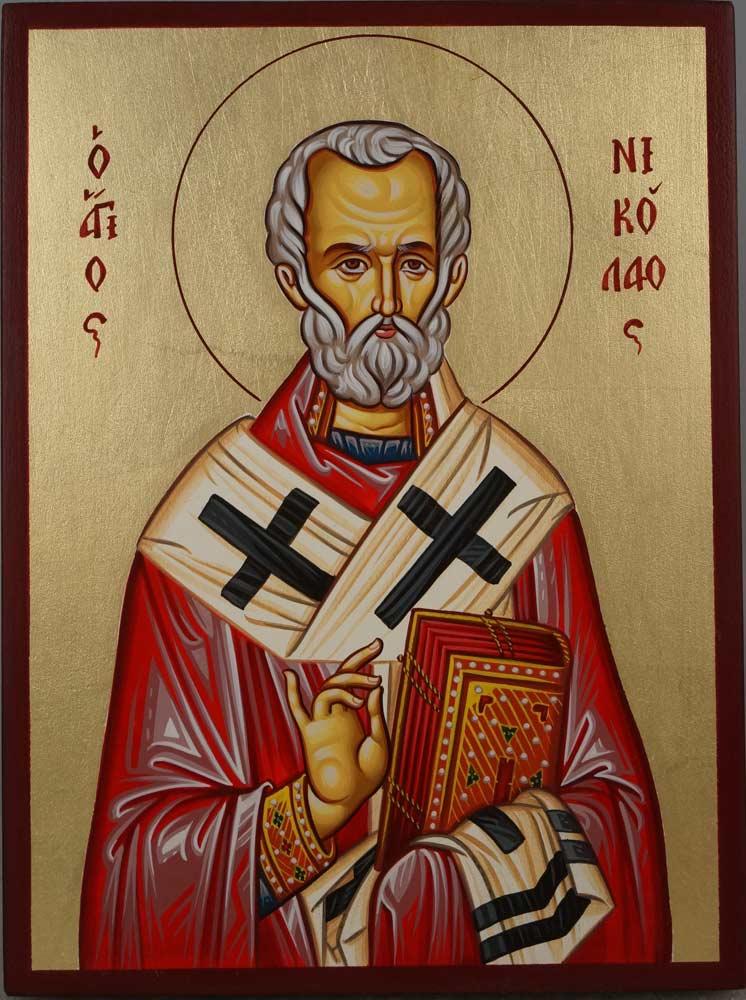 Saint Nicholas of Myra Hand-Painted Byzantine Icon