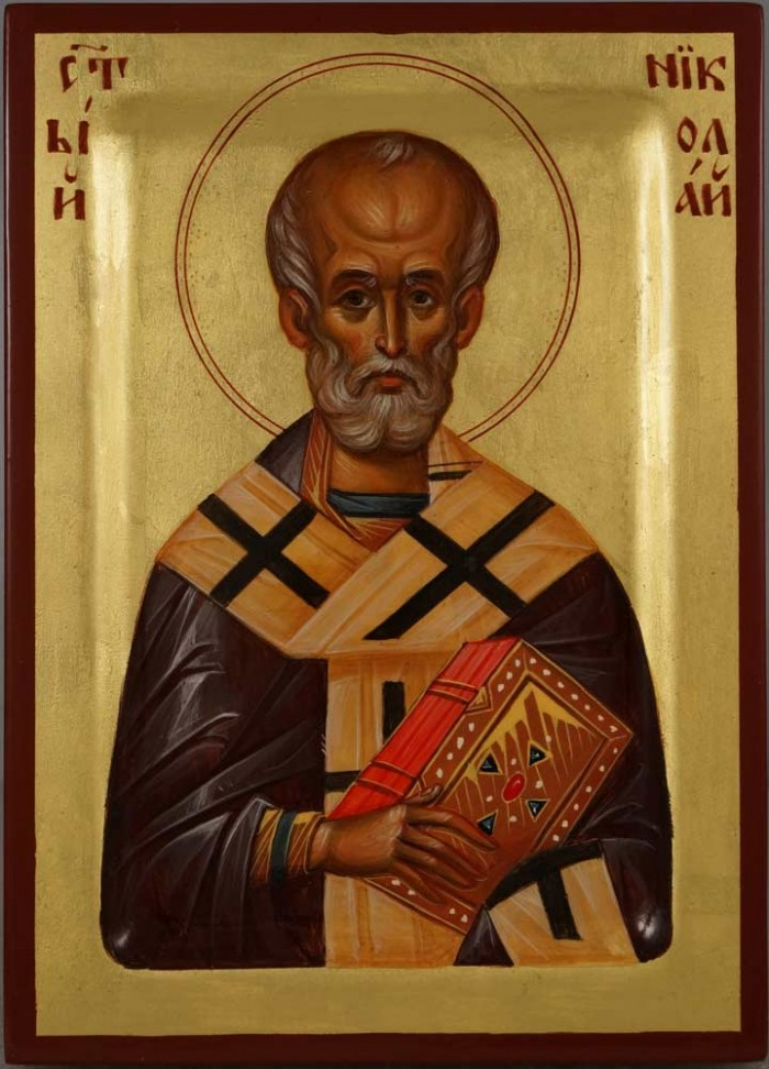 Saint St Nicholas of Myra Hand Paunted Byzantine Orthodox Icon