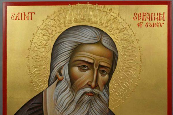Saint Seraphim of Sarov (decorated halo) Hand-Painted Russian Orthodox Icon