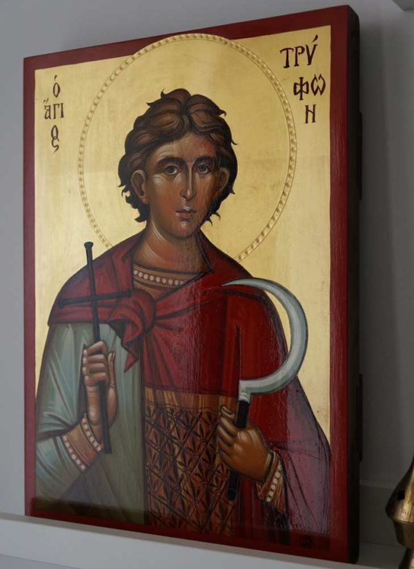 Saint St Tryphon Trifon the Martyr Hand Painted Orthodox Icon