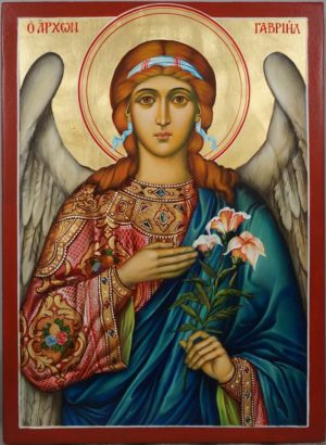 St Archangel Gabriel Hand Painted Orthodox Icon on Wood