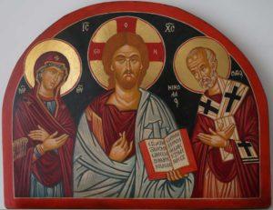 St Nicholas Theotokos Jesus Christ Pantocrator Open Book Hand Painted Orthodox Icon