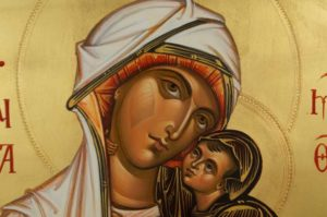 St Saint Anna Anne and the Theotokos Hand Painted Byzantine Orthodox Icon