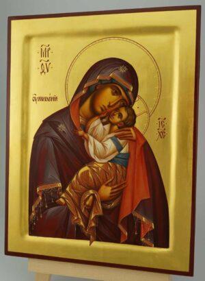 Theotokos Glykophilousa raised border Icon Hand Painted Byzantine Orthodox