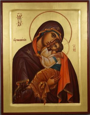 Theotokos Glykophilousa (raised border) Eleusa Hand-Painted Byzantine Orthodox Icon