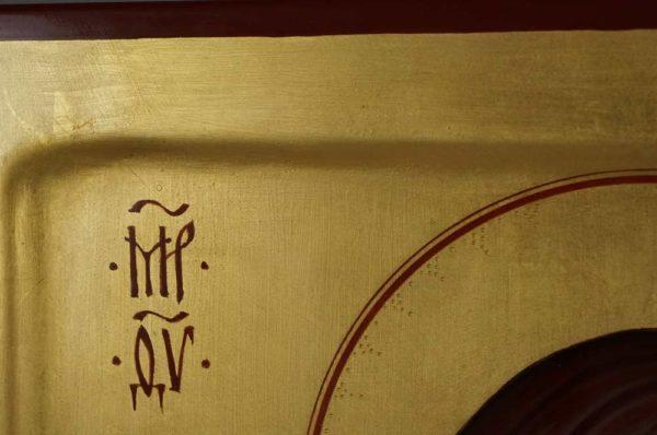 Theotokos Glykophilousa (raised border) Eleusa Hand-Painted Byzantine Orthodox Icon