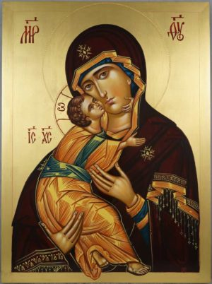 Theotokos of Vladimir Vladimirskaya Mother of God Hand-Painted Orthodox Icon