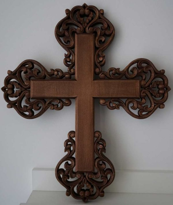 Hand Carved Wooden Orthodox Cross Miniature