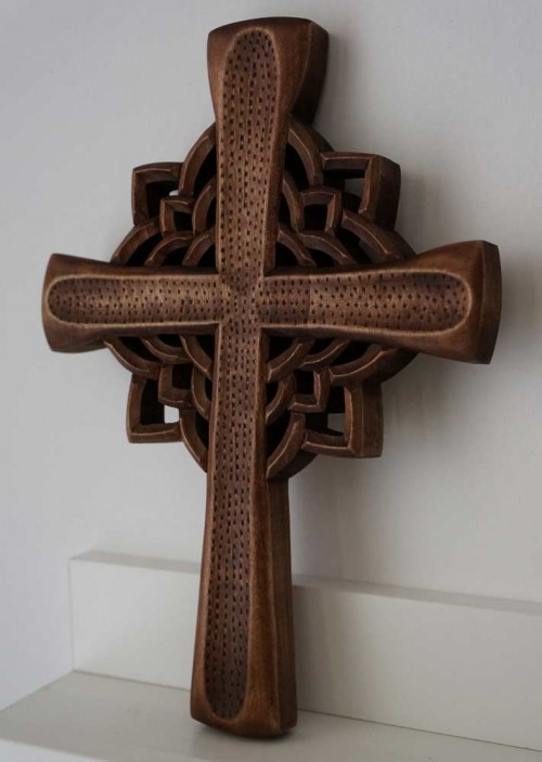 Hand Carved Wooden Orthodox Cross Miniature Carving