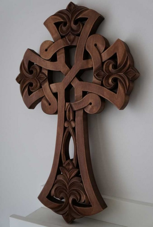 Hand Carved Wooden Celtic Orthodox Cross
