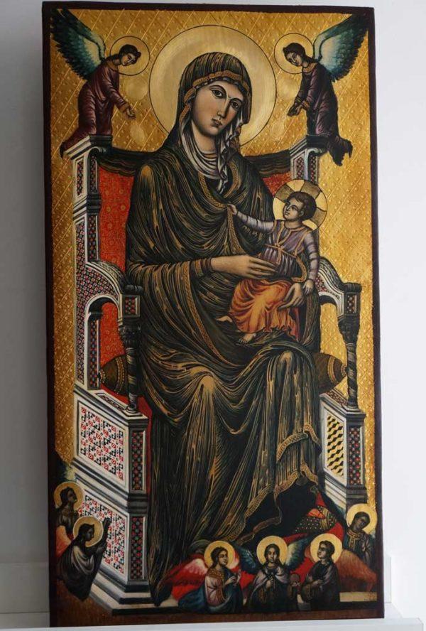 Madonna di Montevergine Icona Mamma Schiavona Icon Hand Painted on Wood