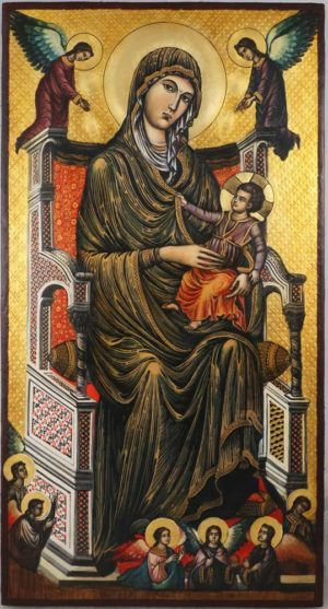 Madonna di Montevergine Icona Mamma Schiavona Icon Hand Painted on Wood