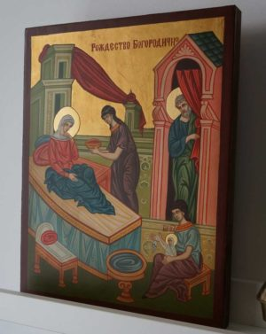 Nativity of the Theotokos Icon Hand Painted Byzantine Orthodox