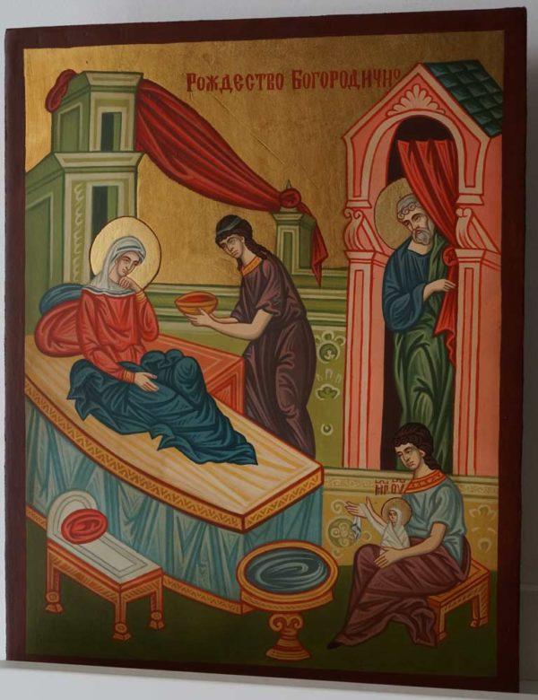 Nativity of the Theotokos Icon Hand Painted Byzantine Orthodox