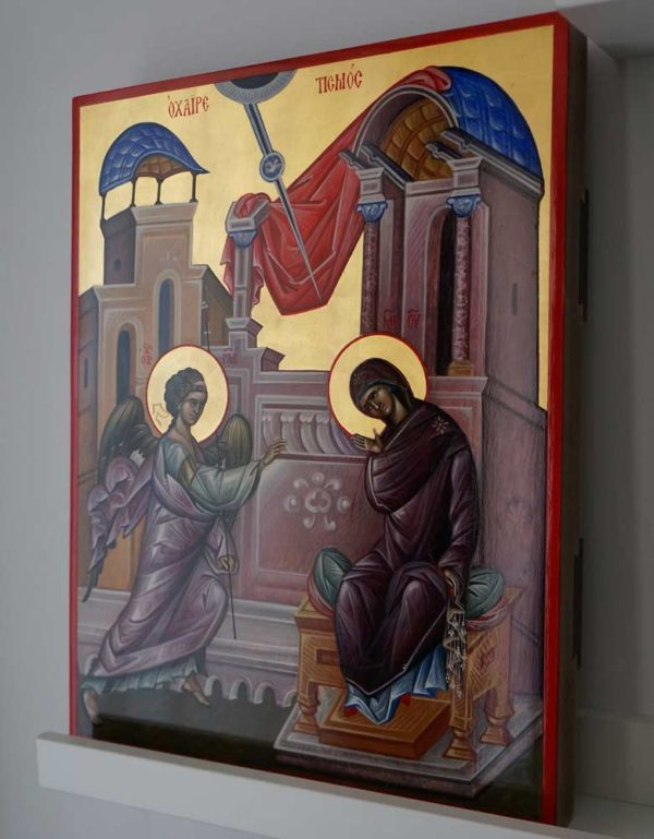 The Annunciation Hand Painted Byzantine Orthodox Icon Archangel Gabriel Theotokos