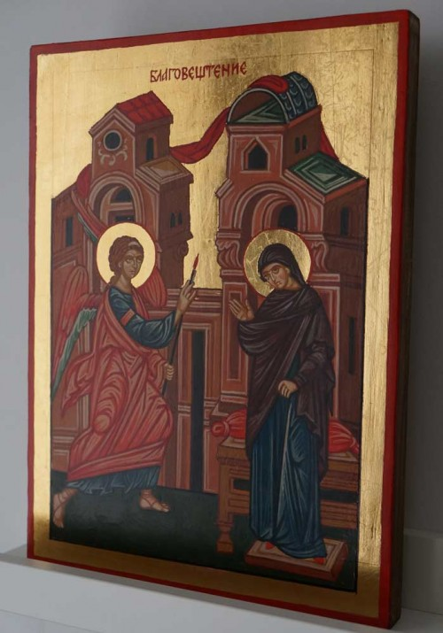 Annunciation of the Theotokos Hand Painted Byzantine Orthodox Icon on Wood