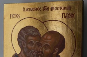 Apostles Peter and Paul Hand Painted Orthodox Icon on Wood