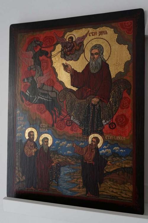 Ascension of Prophet Elijah Hand Painted Orthodox Icon on Wood