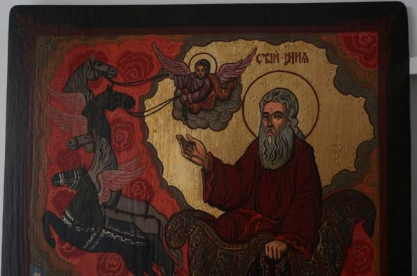 Ascension of Prophet Elijah Hand Painted Orthodox Icon on Wood