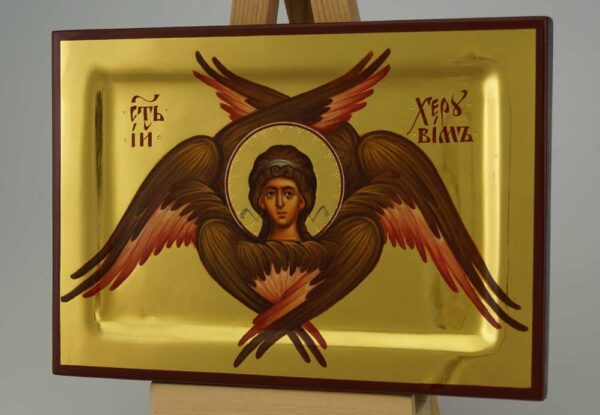 Cherub – polished gold miniature Icon Hand Painted Byzantine Orthodox