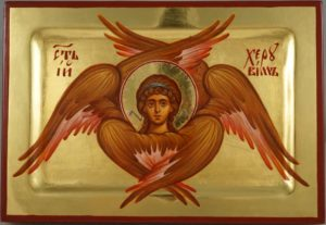 Cherub Hand Painted Byzantine Orthodox Icon with Polished Gold on Wood